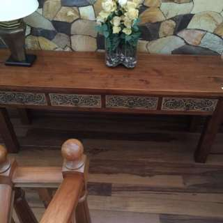 Console brown wooden side table