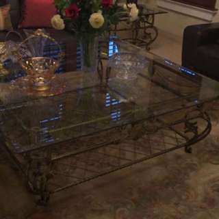 Glass square center table