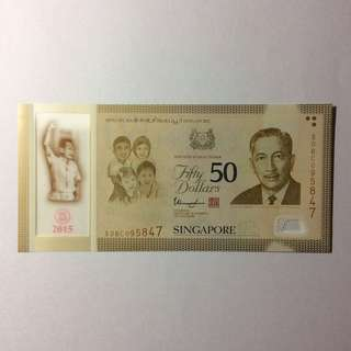 50BC095847 Singapore Commemorative SG50 $50 note.