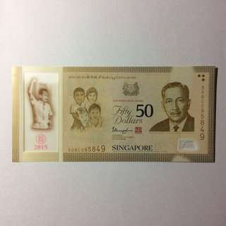 50BC095849 Singapore Commemorative SG50 $50 note.