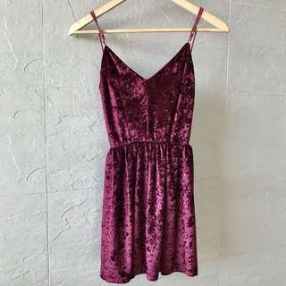 Velvet Wine Red Dress