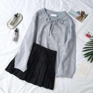 柔軟刺繡葉寬鬆針織衣