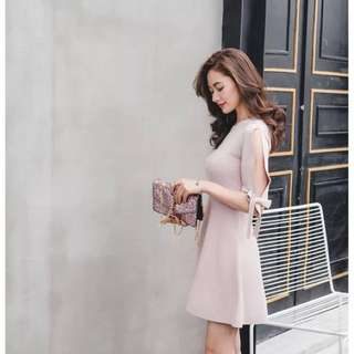 粉紅 荷葉中袖針織連身裙