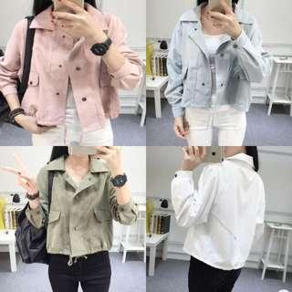 S-XL Plain Button Jacket