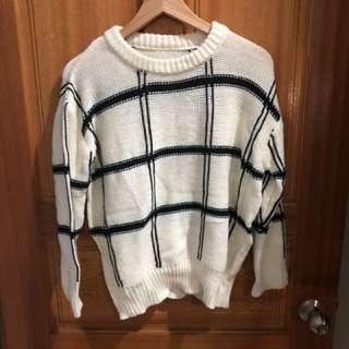 全新正日貨 針織格紋寬鬆毛衣
