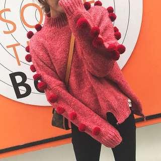 Minimei追加款✪韓系韓版歐美風英倫風百搭休閒冬季聖誕可愛甜美毛絨絨毛球粗線棒針毛衣套頭寬鬆針織衫