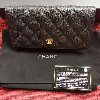 Chanel yen caviar wallet - black