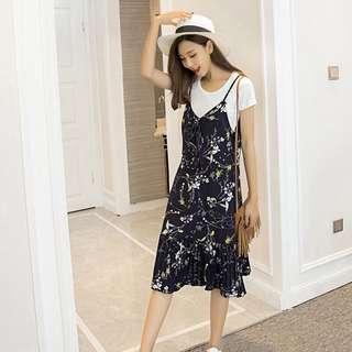 Mono-coloured V-Neck Floral Prints Designed Camisole Long Dress