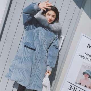 韓國chic霧霾藍大毛領連帽絲絨麵包羽絨女加厚保暖絨面棉衣寬鬆外套 羽絨外套 厚外套大衣