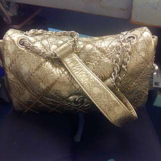 Chanel lambskin gold quilted
