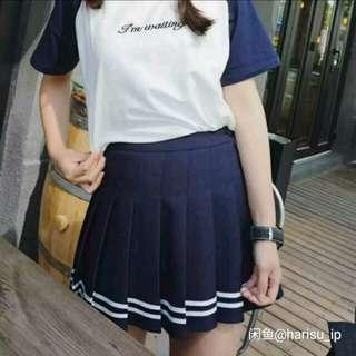2016春夏装新款欧美AA风高腰修身显瘦俏皮百褶裙网球裙半 深藍色,L 碼,腰圍78cm