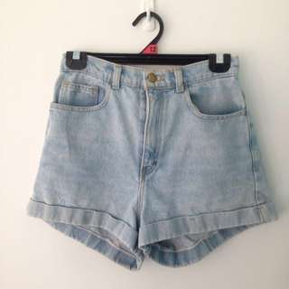 **PRICE REDUCED** Genuine American Apparel High Waist Light Wash Mum Jean Shorts
