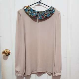 Korean cute colourful pattern peter collar lomg sleeve blouse