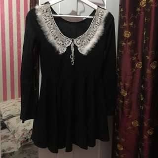 Dress hitam bulu brand lokal