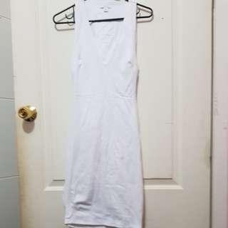 Kookai white deep cleavage open back bandage dress