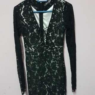 Black lace front tie up dress