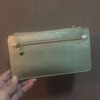 Gold flat wallet card holder phone holder