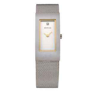 Bering ladies stainless steel rectangle mesh strap watch