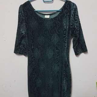 Blue greyish velvet dress