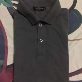 Folded and hung gray polo shirt small