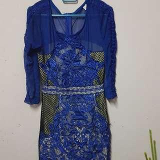 Blue cream lace dress