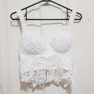Sexy lace A/B cup crop bust top