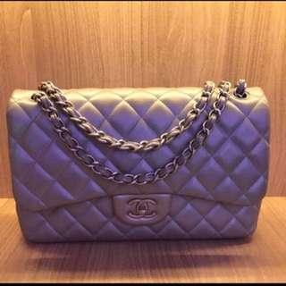 Chanel Jumbo d/flap lambskin silver  full set