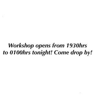 Workshop OPENS tonight 14/12/2017!!