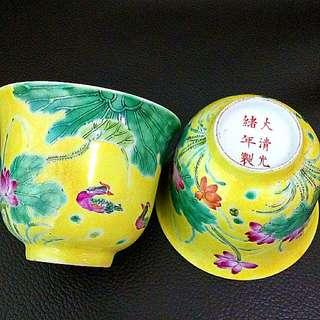 Qing Tea Cups ( H 6.5cm Diameter 8cm )