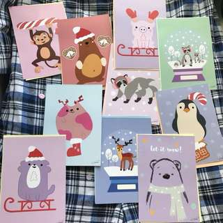 Hand illustrated Christmas cards with envelope