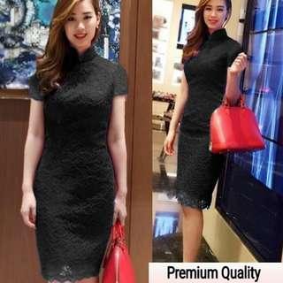 BIG SALE!!! Dm md eunby brukat hitam dress elegan wanita