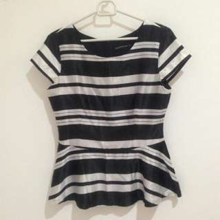 Peplum Blouse The Executive Stripe Black and White