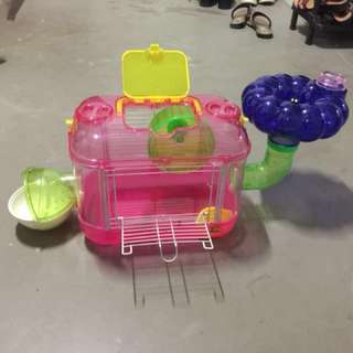 Hamster + cage + 9 accessories