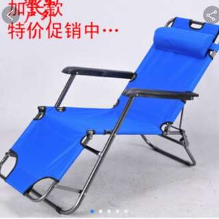 Outdoor and Indoor long canvas chair. Navy blue folding chair.