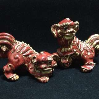 石灣陶塑石榴紅雙獅