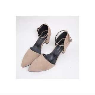 韓風駝色尖頭瑪莉珍跟鞋 麂皮絨面