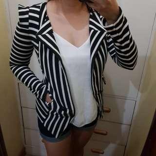 Black and white office formal blazer