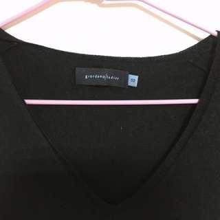 Giordano / Ladies 黑色v領毛衣
