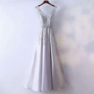 天使佳人婚紗禮服旗袍~~~~灰色刺繡緞面晚禮服