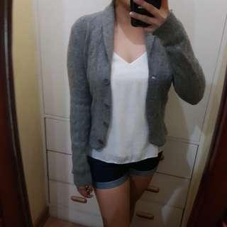 Gray wool blazer coat outerwear small