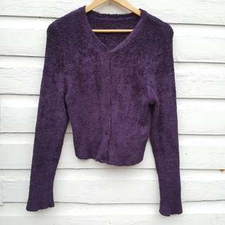 Purple Chenile Cardigan