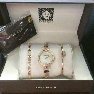 Anne Klein Women's Swarovski Crystal-Accented Gold-Tone Bangle Watch and Bracelet Set