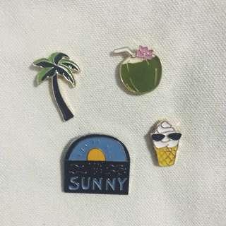 Coconut Tree / Sunny / Ice Cream w Shade / Coconut - Badges Pins