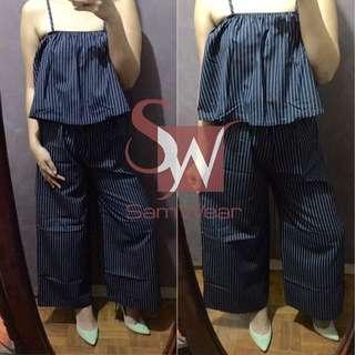 BNWT Striped Top & Culottes Terno