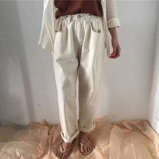 全新 米白色 微花苞牛仔褲