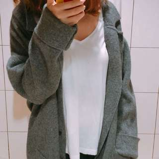 韓貨 灰色翻領毛料大衣