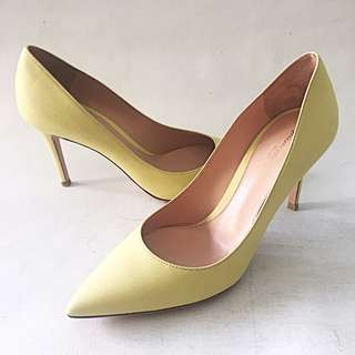 """NWOB GIANVITO ROSSI Yellow Kid Leather 3.5"""" Pumps Heels Size 38.5 8.5 Defects"""