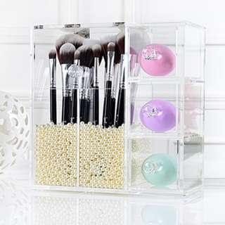 High Quality Acrylic Organiser Two Makeup Brush Holders and Three Drawers with pearls