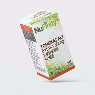 Nufinity Tongkat Ali Extract 50mg  (60 Vegetable Capsules)