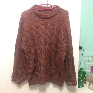 🚚 乾燥玫瑰色 粗針織麻花毛衣 針織衫